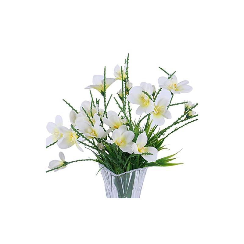 silk flower arrangements calcifer 3 sets(7 stems/set) 22.83'' freesias artificial flowers bouquet for home decoration/wedding decor (white)