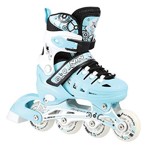 Nils Inlineskates Rollschuhe Schlittschuhe # 4in1 verstellbar Inline Skates EIS Sport Hockey Mädchen & Junge & Damen NH10905 (Blau, L (39-42))