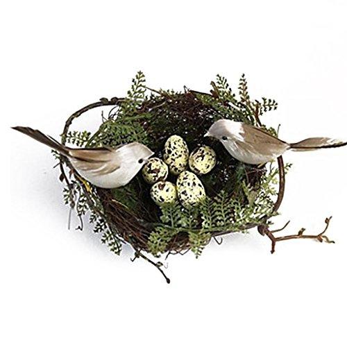 MagiDeal Set de 1pc Nid D'oiseau +2pcs Oiseaux Atfificiels à Plume + 5pcs Oeufs Décoration Rustique - 01