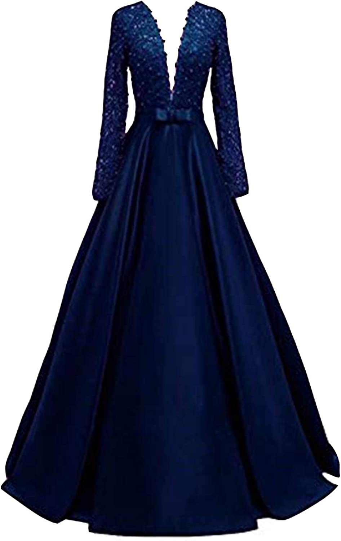 Ai Maria Deep V-Necked Long-Sleeved Ball Beaded Max 57% OFF Dress quality assurance Brida Lace