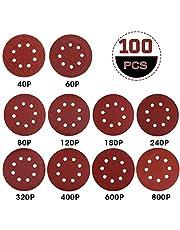 Rovtop Klittenband schuurpapier 125 mm klittenband voor slijpschijven Ø excentrische schuurmachine 100 stuks 40/60 (10 schijven per korreling) 80/120/180/240 (15 schijven per korrel) 320/400/600/800 (5 schijven per korreling)