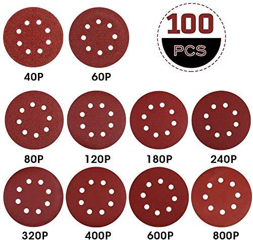 Rovtop Klett Schleifpapier 125mm klett für schleifscheiben Ø exzenterschleifer 100 pcs 40/60(10 Scheiben pro Körnung) 80/120/180/240(15 Scheiben pro Körnung)320/400/600/800(5 Scheiben pro Körnung)