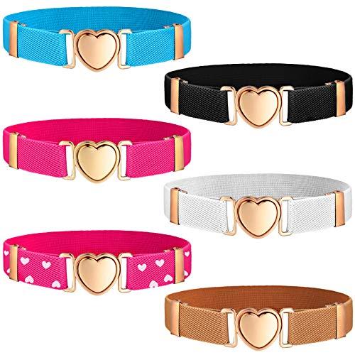 6 Pieces Kids Elastic Stretch Belts Girl Waist Belt Adjustable Uniform Belt for Teen Kids Girls Dresses Heart Belt, 6 Styles (Gold Buckle)