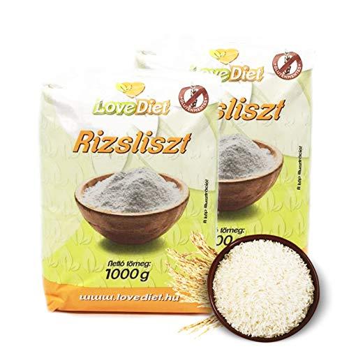 LoveDiet Reismehl glutenfrei 2 x 1000 g Sparpaket | 2000 g Vollkornreismehl zum Backen, Kochen, Panieren und für Teig | glutenfreie Alternative | Rice flour