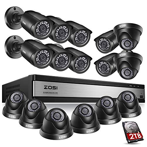 ZOSI 720p 16 Channel Video Surveillance System,16 Channel Hybrid DVR Recorder with 12 x 1280TVL(720p) Weatherproof Indoor/Outdoor Bullet Camera System,Easy Remote Access,2TB Hard Drive