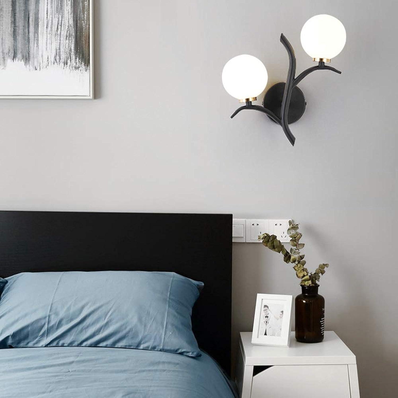 Wandleuchte Nordic Doppelkopf Wandleuchte Gold Innendekoration Kreative Schlafzimmer Nachtwandleuchte Postmoderne Freizeit Beleuchtung DE (Farbe   Schwarz)