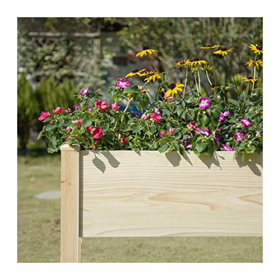 """MIXC Raised Garden Bed, Fir Wooden Planter Boxes for Outdoor Plants, Elevated Standing Planter with Waterproof Legs… 8 【Weather Treated Fir Wood】MIXC raised garden beds is made of untreated fir wood, which resists warping and splitting over time better than cedar. Overall Dimension: 46""""(L) X 21.6""""(W) X 30""""(H).The depth of the planter raised bed is 8.26 inches deep,that can be worked for tomato & carrots & any vegetable flower. 【Drainage Holes & Inner Liner】Four drainage holes are convenient to drain out excess water. Besides, we also provide a Waterproof PE rubber membrane(67""""*55"""") for you to DIY. The liner helps to keep soil and moisture from rotting the wood. 【Easy to Assemble But Sturdy】With complimentary installation guide, you can put this Planter Box together was less than 10 min without hammer and a screwdriver. The joints are dovetailed, which designed for better load-bearing structure. It has a load capacity of up to 385LBS that far heavier than other products."""