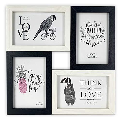 TH - Cornice portafoto multipla in legno, da parete – 4 foto da 10 x 15 cm (bianco, nero)