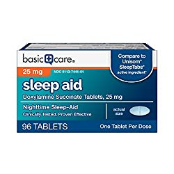 Basic Care Sleep Aid Tablets, Doxylamine Succinate Tablets, 25 mg, Nighttime Sleep Aid to Help You F