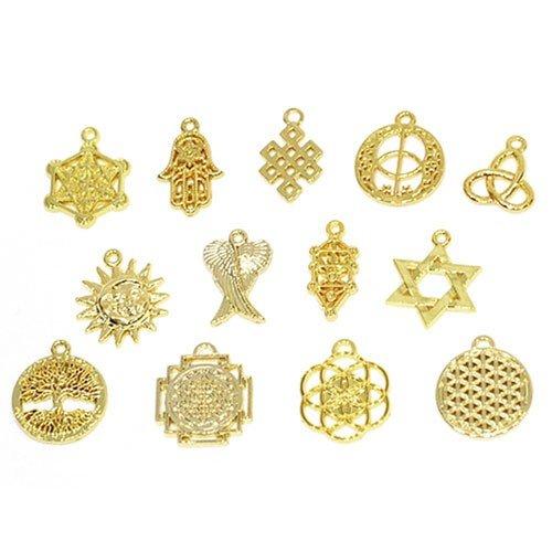 シンボルチャーム Holy Charm 神聖幾何学模様のパーツ 全13種類 G:太陽と月-ゴールド