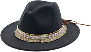 New Women Fedora Hat Wool Khaki Jazz Hats Female National Casual Large Brim Vintage Autumn Classic Felt Hat and Cap` TuanTuan (Color : Gray, Size : 56-58)
