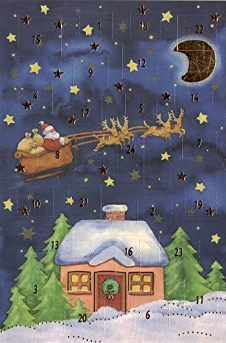 Besinnliche Adventskalenderkarten 4 Karten Grußkarten Goldprägung Kunstkarte Weihnachtskarte Adventskalender Frohe Weihnachten Weihnachtsmann Winter