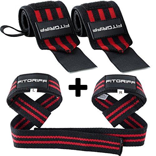Fitgriff® Polsiere Palestra + Straps Palestra (Set) - Donna & Uomo - Polsini Palestra + Cinghie Sollevamento Pesi - Crossfit, Bodybuilding, Gym, Powerlifting - Black/Red