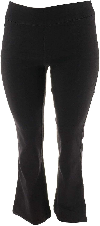 Denim & Co. Active Denim Yoga Pants Front Pockets Black 28W New A274196