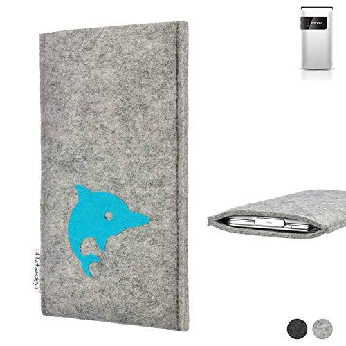 flat.design Handy Hülle für Emporia FLIP Basic FARO mit Delphin handgefertigte Filz Tasche fair