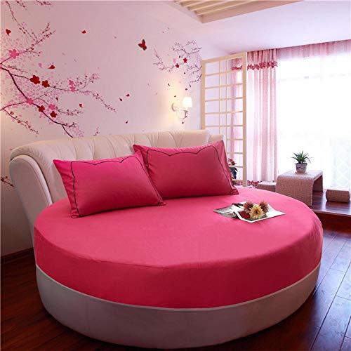 HPPSLT Protector de colchón/Cubre colchón Acolchado de Fibra antiácaros, Transpirable, Cama Redonda de algodón Color sólido Espesamiento-Rosa roja 1_2.2m