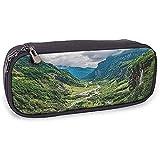 Estuche para lápices Lago Valle Montaña Árbol Niebla Cascada Cañón Paisaje alpino Tema de la...