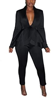 Two Piece Outfits for Women Sexy - Long Sleeve V Neck Peplum Ruffle Raw Hem Pullover Tops Bodycon Long Pants Sets Tracksuit