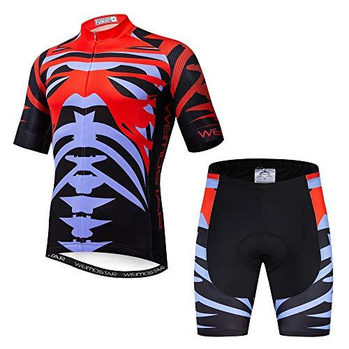 Maillot de ciclismo con manga corta para hombre (2021). Ropa de ciclismo para exteriores, bici de montaña - rojo - Small