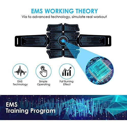 MOOHOP Elettrostimolatore per Addominali, Elettrostimolatore Muscolare Professionale per Braccio/Gambe/, EMS Stimolatore Addominale, USB Ricaricabile, 6 modalità E 10 Livelli di Intensità
