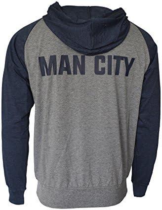 Icon Sport Manchester City Hoodie Lightweight Fz Summer Light Zip up Jacket Grey Adults