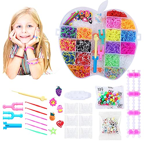 Loom Bänder Kit, DIY Gummibänder Kit, DIY Gummibänder Starter Set Gummibänder Set, Bunt Loom Bänder Starter Box Set mit Webrahmen und Häkeln