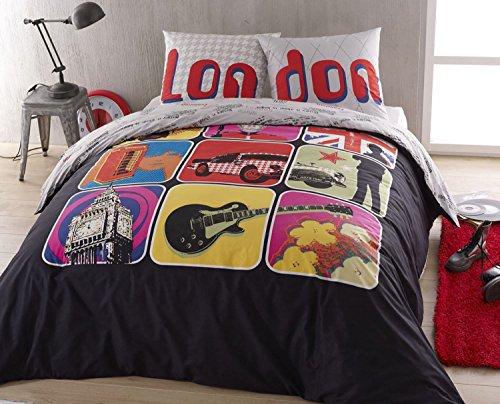 Home Linen Parure Housse de Couette en 100% Coton - London 240 x 220 cm + 2 taies d'oreiller 65 x 65 cm Housses de Couette en Coton - Housse de Couette: Rabat Forme Bouteille