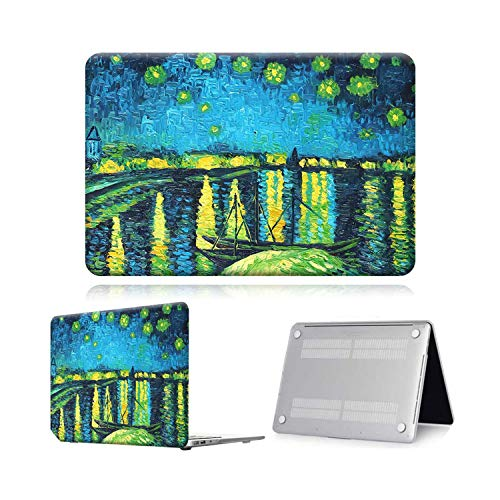 Case for Macbook Air Pro Retina 11 12 13 15 Touch Bar Painting Laptop Case Cover + Keyboard Protector for Air 13 (A 1932) A2179-Lake Paint-Air 13 A1932 A2179