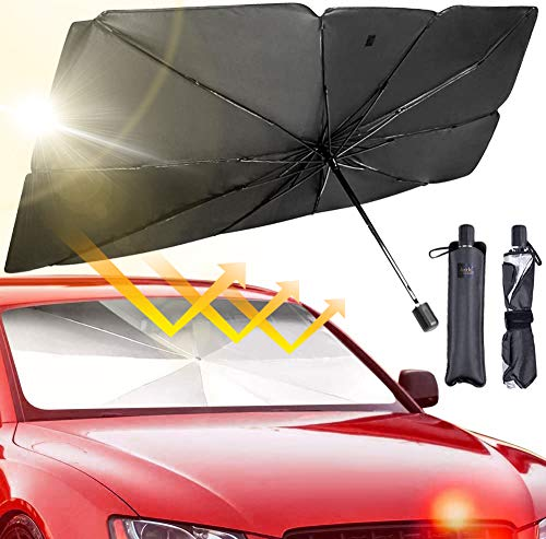 JASVIC Car Windshield Sun Shade Umbrella - Foldable Car Umbrella Sunshade Cover UV Block Car Front Window (Heat Insulation Protection) for Auto Windshield Covers Trucks Cars (Large)
