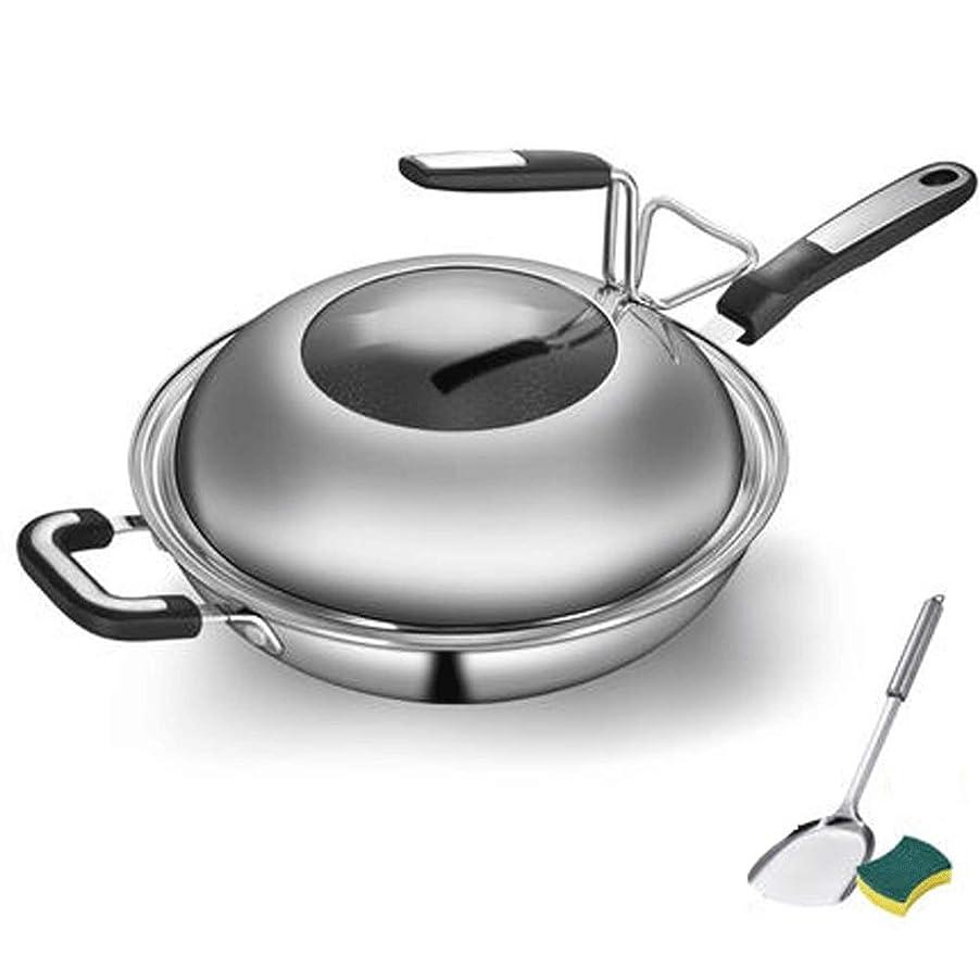 蒸気流す机鍋 電磁調理器ガスストーブ32 34 Cmに適した蓋ハンドルフライパンで多機能キッチン304ステンレス鋼平底ノンスティックPanWok (Size : L)