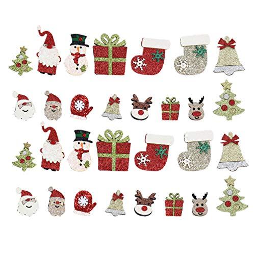 Artibetter 30 Piezas de Parches de Navidad Bordados Dorados para Coser Apliques Parche de Reparación para Artesanía Ropa Decoración DIY Estilo Ramdon