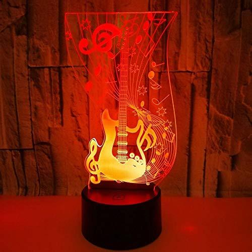 3D led-gitaar, kleurrijk touch-licht en afstandsbediening, kleurverandering, nachtlampje is het perfecte cadeau voor kinderen en kamerdecoratie.