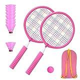 Raquetas de bádminton para niños,Set de bádminton para niños,Set de Raquetas de bádminton,Raqueta de práctica Profesional,para el Juego de Deportes de Playa al Aire Libre (rosa)