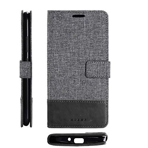 tinyue® Coque ASUS ZenFone Go ZB500KL (5.0 Pouce) Étui en Cuir PU Etui Portefeuille en Toile Denim Flip Case Housse pour ASUS ZenFone Go ZB500KL (5.0 Pouce) Gris