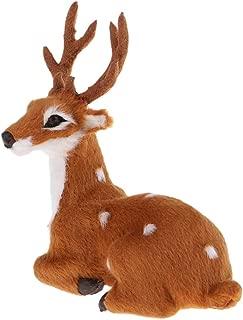 KODORIA Christmas Deer Miniatures Plush Reindeer Model Toy Plush Crafts Props Christmas Fairy Garden Dollhouse Ornament Gift - Grey Male Sitting
