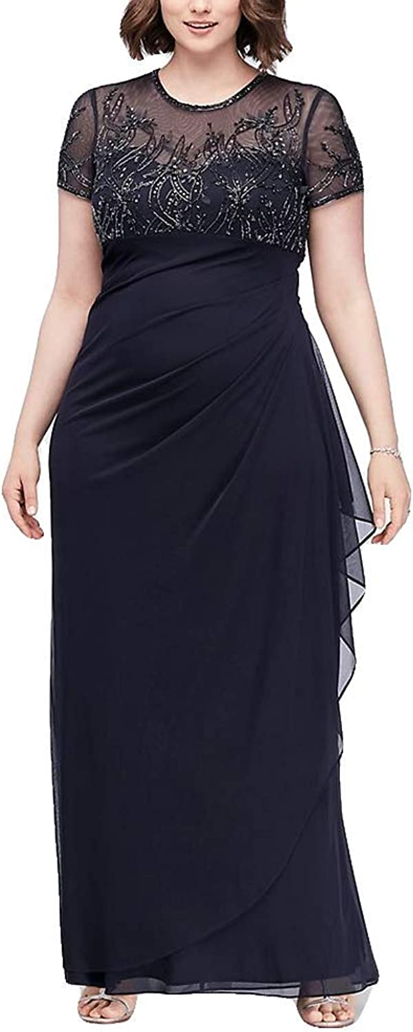 Fenghuavip Women's PlusSize Pleated Mother of The Bride Dresses Evening Gowns
