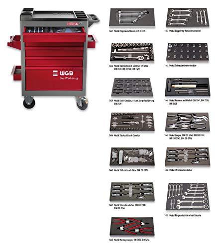 Werkstattwagen bestückt mit 13 Modulen | 7 Schubladen | No.142 | stabile Stahlblechkonstruktion | WGB