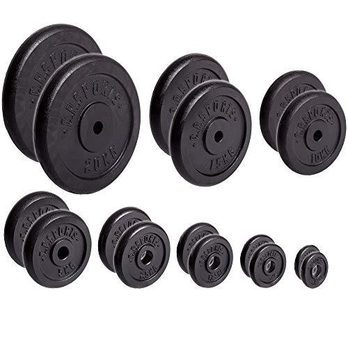 C.P. Sports Dischi in ghisa per manubri, 1coppia, 2coppie di pesi da 30mm per bilanciere, piastre da 0,5kg, 1kg, 1,25kg, 2,5kg, 5kg, 10kg, 15kg,...