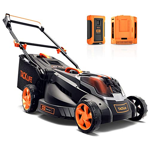 TACKLIFE Cordless Lawn Mower, 16'' Brushless Lawn Mower, 40V Max 4.0Ah Battery, 6 Mowing Heights, 3 Operation Heights, Low Noise, 50L Grass Box & Mulcher
