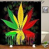 SARA NELL Reggae Rasta Marijuana Leaf Weed Shower Curtain,Waterproof Polyester Fabric,Bath Curtains Bathroom Decorations Home Decor Sets,72X72 Inches with 12 Hooks