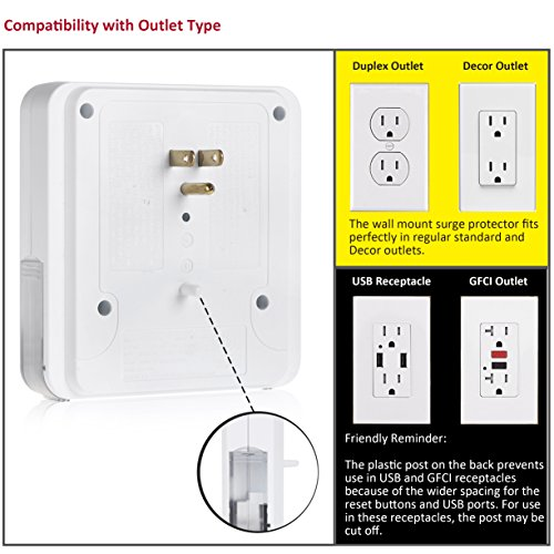 BESTTEN USB Outlet Surge Protector, 4 USB (Max 4.2A) Charging Ports and 3 AC Electrical Sockets, Wall Mount Multi Outlet Extender with 2 Slide Out Phone Holders, ETL Certified, White