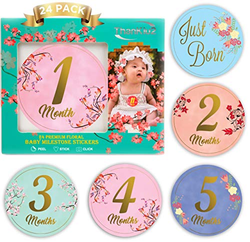 Baby Monthly Stickers-24 Floral Milestone Stickers with Shiny Metallic Gold Letters for Newborns | Celebrate 0-12 Months, Babys First Year Birthday, Holidays | Awesome Baby Shower Gift -by ThanKiu2