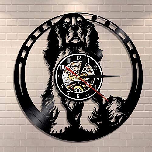 yltian Cavalier Pared Arte Perro Raza Pug Perro Vinilo Disco Reloj Cavalier King Charles Spaniel Perro Reloj de Pared Perro Amante Regalo de inauguración de la casa