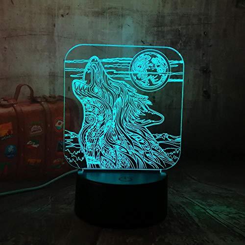 CFLEGEND3D nachtlicht (touch + fernbedienung) LED tischlampe statue kinderzimmer schlaf licht 7 farbe USB vollmond nacht und heulender wolf acryl leucht touch control home schreibtischlampe für