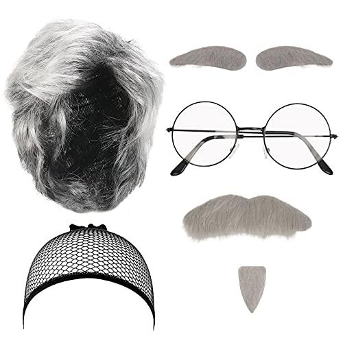 LOOPES Juego de 7 piezas de disfraz de hombre viejo para abuelo, juego de disfraz de abuelo con bigote gris cejas pelucas y gafas de gorra para Halloween fiesta retro escenario cosplay