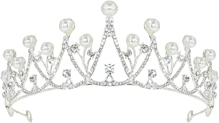 Crown and Princess Tiara Birthday Crown for Women Girls Bride Queen Bridesmaid Wedding Headbands Crystal Beads Headpieces for Wedding Birthday Pageant Party Prom Valentine's Day(Sliver)