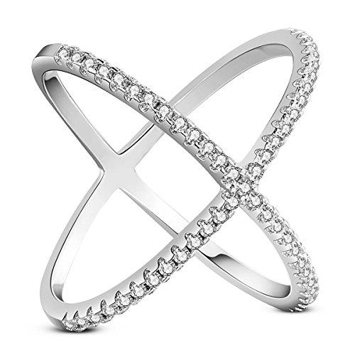 SHEGRACE Damen Ring aus Reinem Silber 925 Sterling, Ornament Delciate mit Kreuz Glänzend Micro Pave Zirkonia AAA, Mehrweg