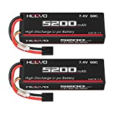 HOOVO 7.4V 50C 5200mAh 2S Lipo Battery Hard Case with Tracxas Plug for RC Car Truck Truggy Buggy Tank RC Airplane Helicopter Boat Car Racing (2 Pack)