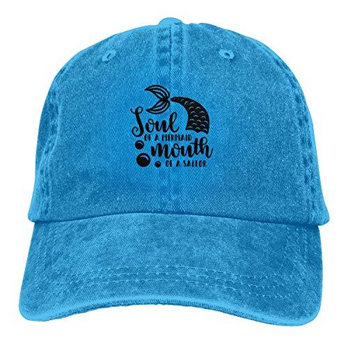 kaifaquqiaoqibaihuodian Trucker Cap Soul of Mermaid Mouth of Sailor Durable Baseball Cap,Adjustable Dad Hat Black Fashion17200