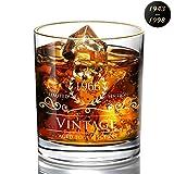 Desberry - Vasos de whisky para cumpleaños, aniversario, vaso de whisky, vaso de cristal con impresión del año, Vidrio, 1966